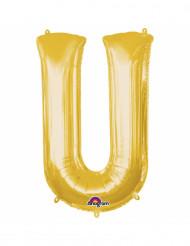 Balão de alumínio Letra U dourada