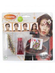 Kit maquilhagem rainha de copas ensanguentada adulto Halloween