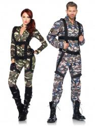 Disfarce de casal militares luxo adultos