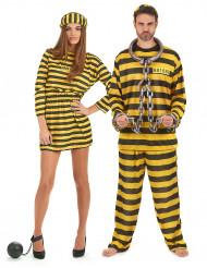 Disfarce de casal prisioneiro amarelo adulto
