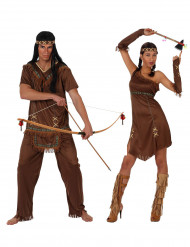 Disfarce de casal índios castanhos adulto