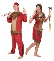Disfarce de casal índios vermelhos adultos