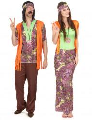Disfarce de casal hippie cor de laranja adulto