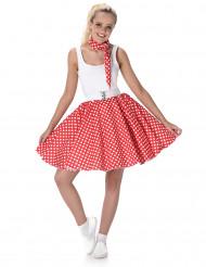 Disfarce anos 50 vermelho às bolas brancas mulher