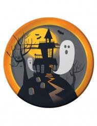 8 Pratos de cartão Halloween castelo assombrado