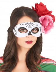 Mascarilha Dia de los muertos preto e branco adulto Halloween