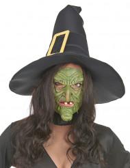 Meia máscara de látex nariz e queixo bruxa verde adulto