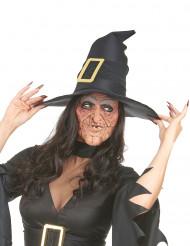 Meia-máscara de látex nariz e queixo bruxa adulto