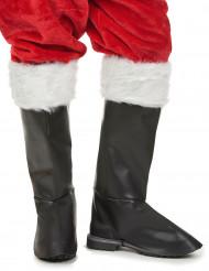 Cobre botas luxo pretas Pai Natal adulto