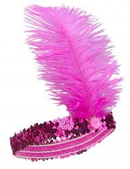 Bandolete charlestone com lantejoulas e pluma cor-de-rosa mulher