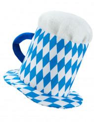 Chapéu caneca de cerveja azul e branca adulto