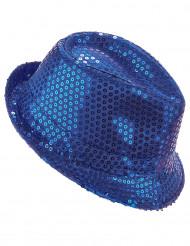 Chapéu borsalino com lantejoulas azuis adulto