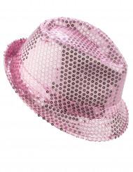 Chapéu borsalino com lantejoulas cor-de-rosa adulto