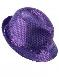 Chapéu borsalino com lantejoulas lilás adulto