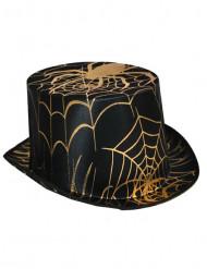 Chapéu preto com aranha dourada adulto Halloween