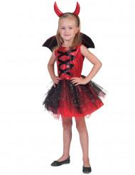 Disfarce diabo tutu com asas menina Halloween