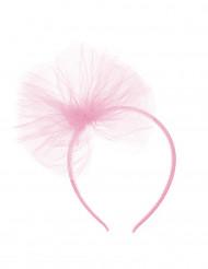Bandolete com laço de tule cor-de-rosa