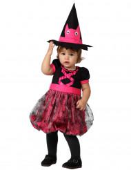 Disfarce bébé bruxa cor-de-rosa Halloween