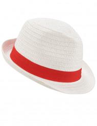 Chapéu borsalino branco com fita vermelha adulto