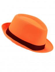Chapéu borsalino cor de laranja com fita preta adulto