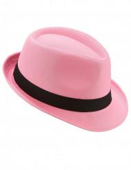 Chapéu borsalino cor-de-rosa com fita preta adulto