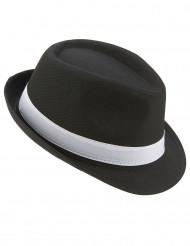 Chapéu borsalino preto com faixa branca adulto