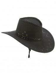 Chapéu cowboy preto camurça - adulto