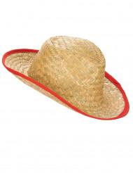 Chapéu Cowboy com os bordos vermelhos adulto