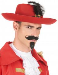 Chapéu de mosqueteiro vermelho com pena preta adulto