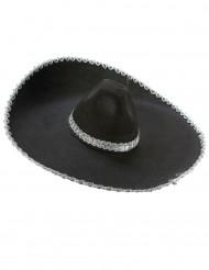 Sombrero preto com os bordos prateados adulto