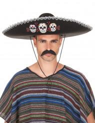 Sombrero preto Dia de los Muertos adulto