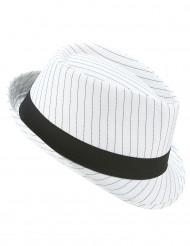 Chapéu borsalino branco às riscas pretas