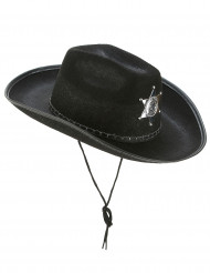 Chapéu xerife preto adulto