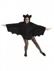 Capa morcego preto mulher Halloween