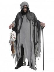 Vestido das trevas cinzento e preto adulto Halloween