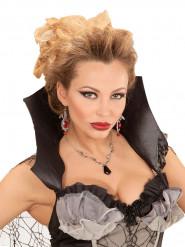 Colar morcego preto mulher Halloween