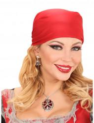 Colar pedra vermelha pirata mulher