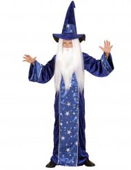 Disfarce mago estrelado azul menino