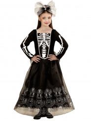 Disfarce esqueleto com saiote comprido menina Halloween