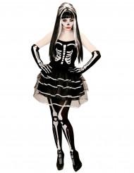 Disfarce de esqueleto tutu mulher Halloween