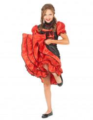 Disfarce dançarina cabaret vermelho e preto menina