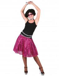 Saia disco cor-de-rosa com lantejoulas mulher