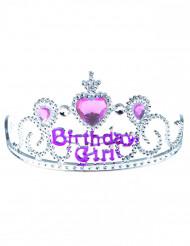 Tiara Birthday girl prateado e cor-de-rosa