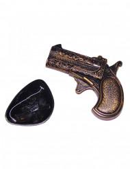 Mini pistola de plástico com pala pirata adulto