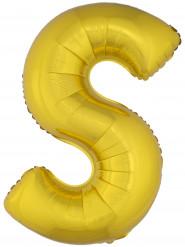 Balão alumínio dourado gigante letra S 1m