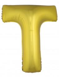 Balão alumínio dourado gigante letra T 1m