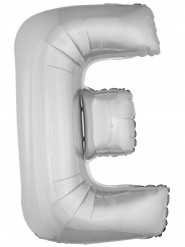 Balão alumínio prateado gigante letra E 1m