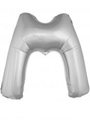 Balão alumínio prateado gigante letra M 1m