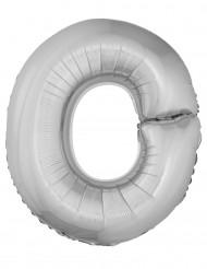 Balão alumínio prateado gigante letra O 1m