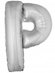 Balão alumínio prateado gigante letra P 1m